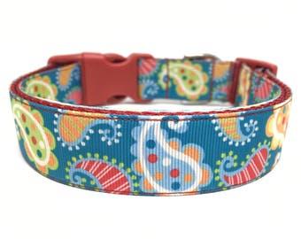 Paisley Dog Collar Adjustable