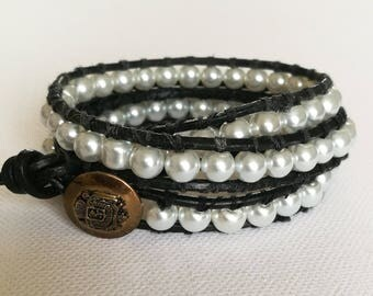 Chan Luu style wrap bracelet with optional personalised initial heart charm