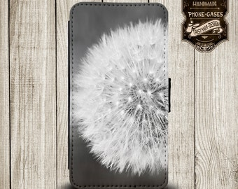 """Handytasche, Leather Wallet Phone Case  iPhone & Samsung, Sony Xperia """"Pusteblume"""""""