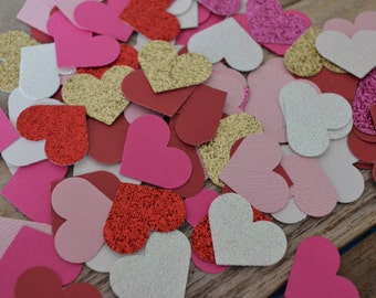 "Valentine's Day Confetti Heart Punches, Heart Cut Outs, Scrapbooking, Embellishments (1"") 