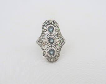 Vintage Sterling Silver Aquamarine & White Opal Filigree Long Ring Size 6