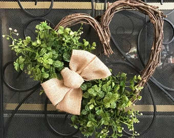 BOXWOOD HEART WREATH,Heart Grapevine Wreath, Valentine Boxwood Wreath,Heart Wreath,Valentine Wreath,Mothers Day Wreath,Wedding Wreath