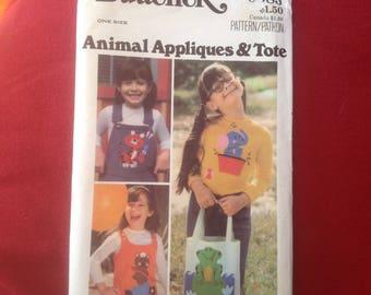 Vintage butterick pattern 5985 childrens bag and applique