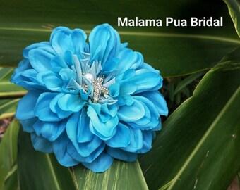TROPICAL HAIR CLIP, Turquoise Dahlia & Starfish, hair flower, flower clip, Bridal Hair piece, Custom Headpiece, Hawaiian flower,Wedding clip