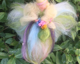 Spring Fairy in carded and fairy wool. Waldorf
