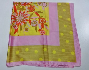 Retro Pink Yellow Shawl Scarf with spotty and flowers designs 103cm x 101cm