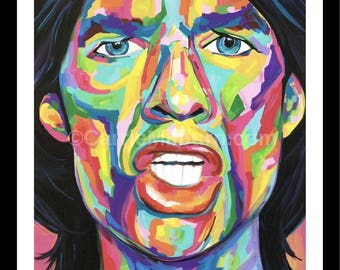 Mick Jagger Painting Print, Rolling Stones Artwork, Giclee Print Pop Art