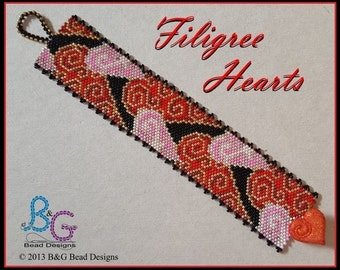 FILIGREE HEARTS Peyote Cuff Bracelet Pattern