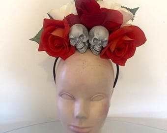 Skull and rose floral crown