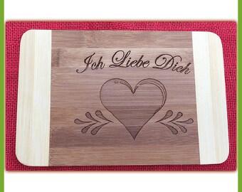 Breakfast Board I love you, bamboo