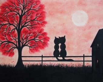Cat Print Framed: Love Cat Gift, Anniversary Gift, Cat Art, Romantic Cat Print, Love Gift, Black Cat Art Print, Cat Tree Moon, Romantic Gift