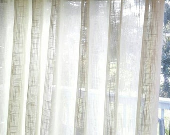 """1 Pair Flat Rod Pocket or Grommet Curtain Panels in Faux Linen Sheer Ivory 110""""W x Selected Length"""