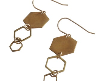 Hexagoned Earrings; Geometric Earrings; Hexagon; Shape; Gold Hexagon Earrings; geometric Jewelry; Sale