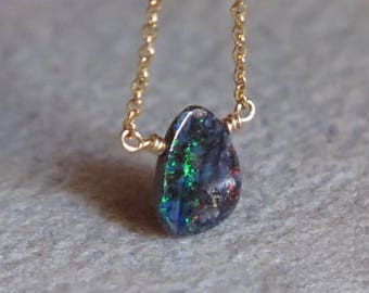Opal Necklace - Gold Filled - Australian Boulder Opal