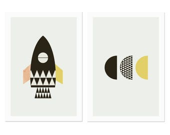 Rocket Kids Wall Art, Nursery art, kids art, Scandinavian, Modern Kids art, Boys room art.