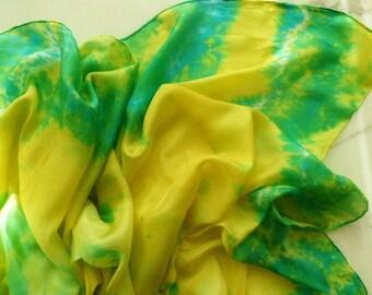 Silk Belly Dance Tie Dye Silk Veil Yellow Blue and Green Silk Veil