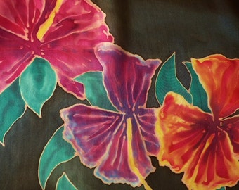 Silk Scarf Hand Painted Flowers Hibiscus Flower Silk Scarf