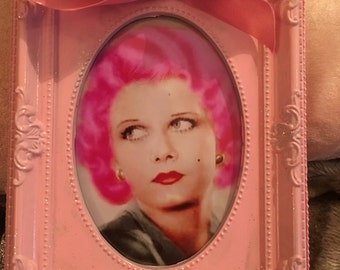 Jean Harlow colour print in a pink glitter frame with ribbon 6x4""