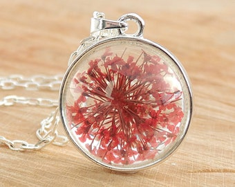 Queen Anne's Lace Necklace, Real Flower Jewelry, Red Queen Anne's Lace, Glass Globe