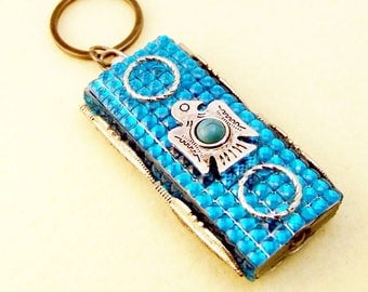 So. West Turquoise Mini LED Flashlt Key Ring w Silver Thunderbird, Rope Rings, Silver Feather Sides, Back Turq. Bling Turquoise Button Cover