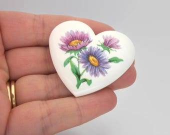 Avon Floral Heart Shaped Ceramic Porcelain Brooch Pin White Purple Pink Flowers Shasta Daisies - Vintage Signed Avon - Gift for Mom for Her