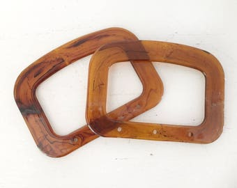 Vintage Amber Plastic D Purse Bag Handles Fabric Purse Handles Amber Plastic Bag Handles