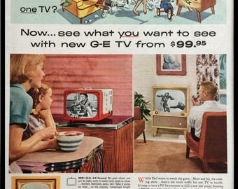 1950's Vintage Framed Print Ad - General Electric Televisions - GE TVs Mid Century Advertising