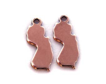 2x Rose Gold Plated Blank New Jersey State Charms - M132-NJ