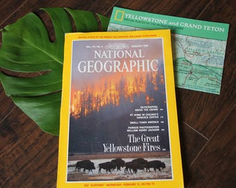 Vintage Yellowstone and Grand Teton National Geographic - With Map