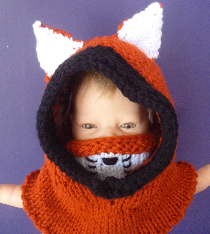 Knitting Pattern For Fox Hat : fox hood fox hat fox snood knitted fox hat fox cowl baby