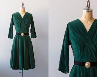 Limoges dress | 1950s green velveteen dress with Limoges brooch belt