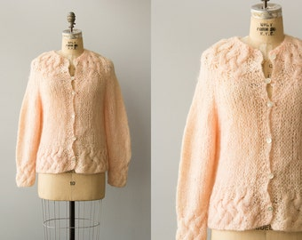 Warm Blush cardigan | Vintage 1960s rose pink mohair sweater | Hand knit mohair