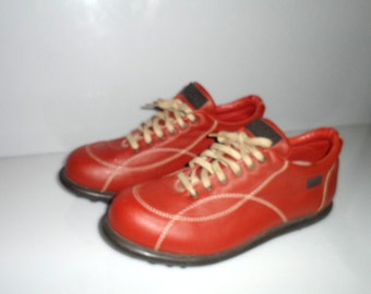 Vintage CAMPER Shoes Red Leather Shoes Size 9 Made in Spain Monogram