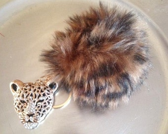 Rhinestone cheetah faux  Rabbit fur Pom pom Key chain
