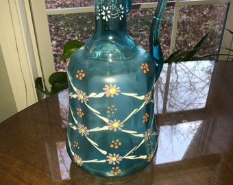 Vintage Frosted Blue Glass & Hand Decorated Enamel Pitcher