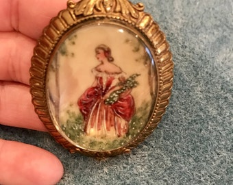 Vintage Lovely Lady Portrait Brooch Made in England