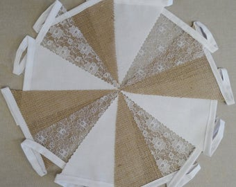 10m Length - Bunting - Hessian, White and Floral Lace - Rustic Barn Wedding