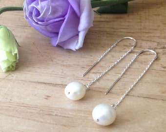 Hope Collection Single Pearl Ear Threader Earrings Handmade