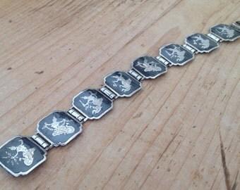 Vintage Siam Silver Niello Thai Dancer Panel Link Bracelet Marked