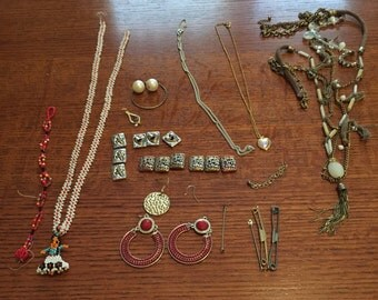 Vintage and Current Jewelry Lot for Crafting, Indian Seed Beads