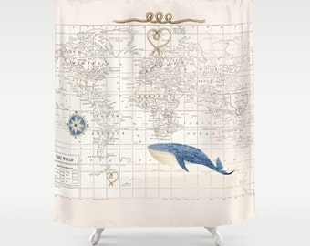 World Map With Whale Shower Curtain   Compass Rose, Historical Map,   Blue  And