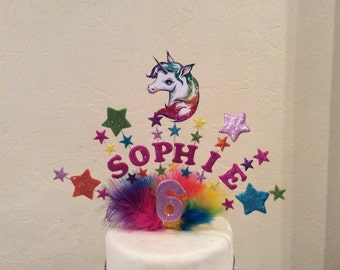 Unicorn cake topper Etsy