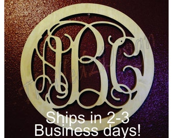 24 inch Circle Border Vine Wooden Monogram Fast Ship - Wedding, Nursery, Home