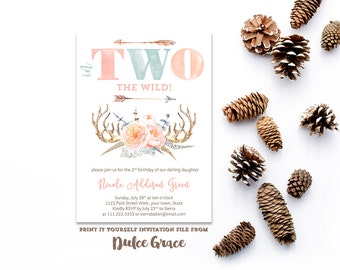 2nd birthday invitations, wild party invites, TWO invites, native american party, arrows invitations, feathers invite, printable file