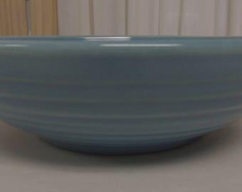 """Bauer Pottery Ringware Delph Blue 9 1/2"""" Salad Bowl Mint Condition"""
