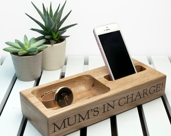 Personalised Oak Technology Stand - Office Tidy - Bedside Table Tray - Charging Station - Technology Station - FREE UK DELIVERY