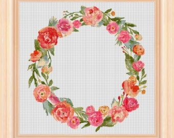 Flower wreath 1 - cross stitch pattern - cross stitch - cross stitch wreath - cross stitch PDF - PDF pattern - instant download!