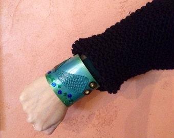 Mermaid Tail Cuff Leather bracelet/Folk Art Mermaid Wristband/Sealife Jewelry/Fish Green Blue Jewlery/Handcrafted/Item ready to be shipped