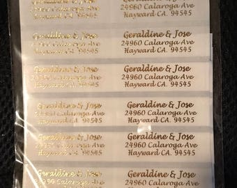 CLEAR WEDDING address labels with silver/gold/white/black ink  Personalized Businnes labels 50 count