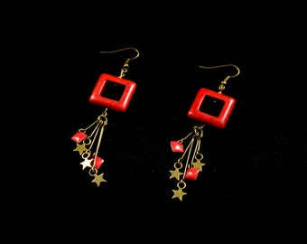 Bronze earrings ears square red howlite, bronze stars and sequins emailles epoxy on stems